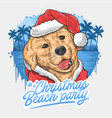 christmas dog santa claus animal artwork vector image