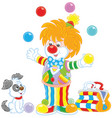 circus clown juggling with color balls vector image vector image