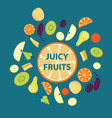 colorful organic fresh fruits set vector image vector image
