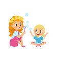 cute girl blowing soap bubbles with her little vector image