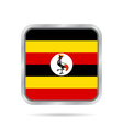 Flag of Uganda Shiny metallic gray square button vector image vector image