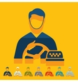 Flat design taxi driver vector image vector image