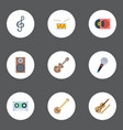 flat icons tape audio box acoustic and other vector image vector image