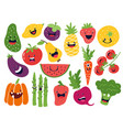 flat vegetable characters funny smiley doodle vector image
