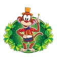 Funny monkey with a drum character vector image vector image