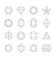 geometric outline crystals set contours vector image
