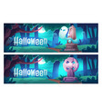 halloween cartoon banners cemetery with ghosts vector image