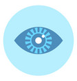 human eye icon on blue round background vector image vector image