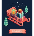 Isometric sleigh gifts Merry Christmas new year vector image