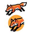 jumping fox mascot vector image vector image