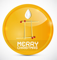 Merry Christmas Gold Medal with Paper Candle vector image vector image