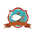 old heraldic borders with fish and label vector image vector image