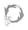 one line christmas wreath from fir tree branches vector image vector image