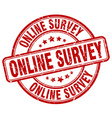 online survey red grunge round vintage rubber vector image vector image