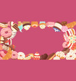 patisserie background frame with sweets desserts vector image vector image
