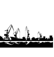 Port cranes and ships vector image vector image