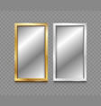 realistic 3d detailed mirror with silver and vector image