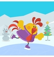 Rooster Bird Skate on Skating Ring Cock in Sport vector image vector image