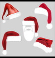 santa hat set icon symbol design christmas vector image