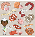Sausages Store Seller vector image vector image