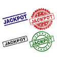 scratched textured jackpot seal stamps vector image