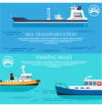 sea transportation and fishing boat posters vector image