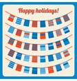 set bunting and garland with banners red blue vector image
