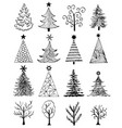 set of hand drawn christmas tree vector image vector image
