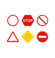 set of signs stop red and white color in flat vector image vector image
