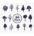 Set of trees hand drawn with ink vector image