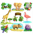 set of zoo safari vector image vector image
