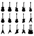 set silhouettes acoustic guitars electric vector image