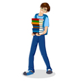Student With Pile Colour Books vector image