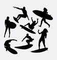 Surfer male and female silhouette vector image