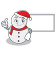 thumbs up with board snowman character cartoon vector image vector image