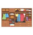 wardrobe organization and storage clothing vector image vector image