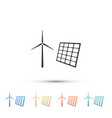 wind mill turbines generating and solar panel vector image vector image