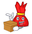 with box wrapper candy character cartoon vector image