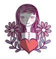 woman with flowers branches and heart vector image vector image
