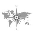 world map with wind rose vector image vector image