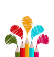 Rainbow of pencils isolated on white background vector image