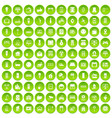 100 smart house icons set green circle vector image vector image