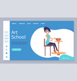 art school lessons pottery making website page vector image