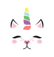 baby cat unicorn face vector image vector image