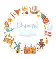 banner with danish symbols famous places vector image vector image