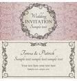 baroque wedding invitation brown pink and beige