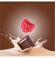 beautiful raspberry and milk vector image vector image
