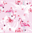 beauty bird flamingo and roses seamless vector image vector image
