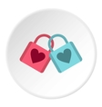 Blue and pink padlocks with heart icon flat style vector image