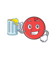 bowling ball character cartoon with juice vector image vector image